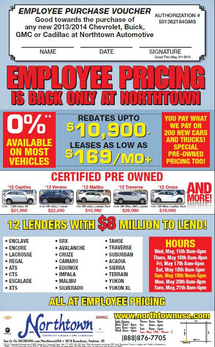Northtown Employee Pricing!